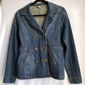 CABI Denim Jean double breasted peacoat jacket 518